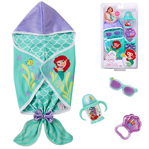 My Disney Nursery Baby Doll Clothes & Accessories, Ariel Snuggle 'N Stroll Doll Accessory Pack Inspired by Disney The Little Mermaid! Includes Mermaid Tail Blanket Sunglasses, Sippy Cup, Noise Maker