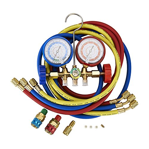 5FT AC Diagnostic Manifold Freon Gauge Set Fits for R134A R12, R22, R502, with Couplers, ACME Adapter for Car A/C System Automotive Air Conditioning Maintenance