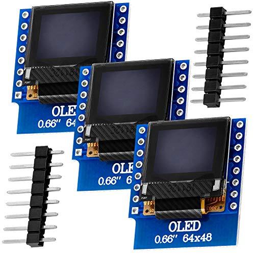 AZDelivery 3 x 0,66 Zoll Display OLED 64x48 I2C HW-699 compatibile con D1 Mini, e-Book incluso!