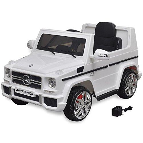 vidaXL Kinderauto 2 Motoren 2x15W Weiß Kinder Elektroauto Kinderfahrzeug