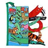 Livres en tissu doux pour bébé, queues d'animaux de dessin animé 3D, livres en tissu anti-déchirure tactile, livres froissés, jouet interactif amusant, jouets éducatifs précoces(Forêt tropicale)