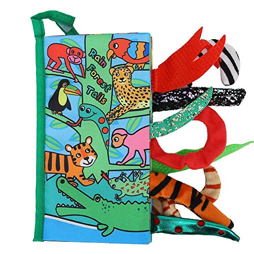 Zerodis- Libro de Tela Suave para bebés, Tela Suave sensorial de Dibujos Animados Encantador Colas 3D Libro antidesgarro Descubrimiento Educativo temprano Libros Regalo(Selva A)