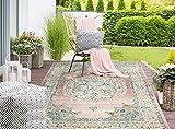 Palma In- & Outdoor Teppich Flachgewebe, Robust, Modernes Design, Vintage Optik, Used Look, Superflach, UV- und Witterungsbeständig, Orient Muster, Rosa, 120 x 170 cm