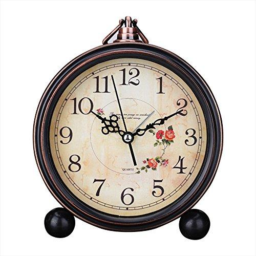 Japace 5' sveglia vintage silenziosa da comodino orologi da tavolo antica analogica, senza ticchettio - camelia