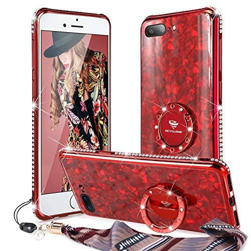 OCYCLONE Funda iPhone 8 Plus, Funda iPhone 7 Plus (5,5 Pulgadas),[Contraportada de Vidrio Templado] Purpurina Diamante Bumper Anillo Stand para Estuche Protector para Mujeres niñas - Rojo