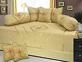 K.T. Traders Textile Quilted Designer Cotton Embroidary Deewan Set Diwali Special (1 Diwan Bedsheet 70 * 100, 2 Bolster Covers, 5 Cushions 16 * 16) (Cream) (Cream)