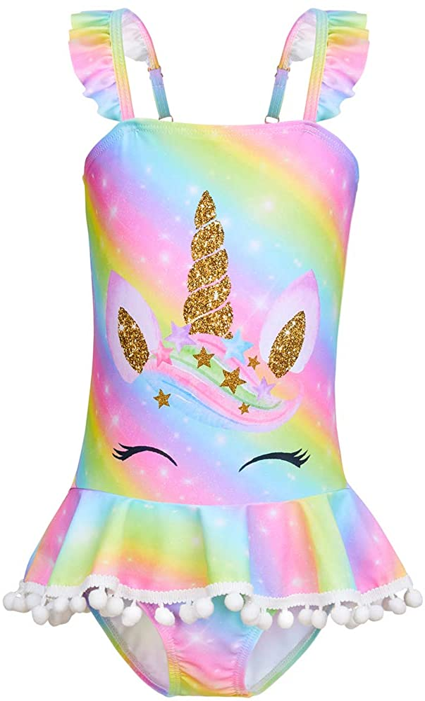 Play Tailor Girls Swimsuit One Piece Bathing Suit Unicorn Mermaid Swimwear Beachwear: Clothing
