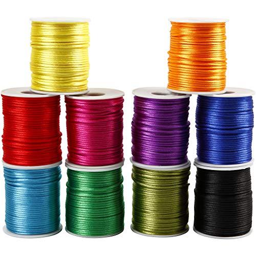 Satinband, sortiert, D 2 mm, kräftige Farben, 10 x 50 m