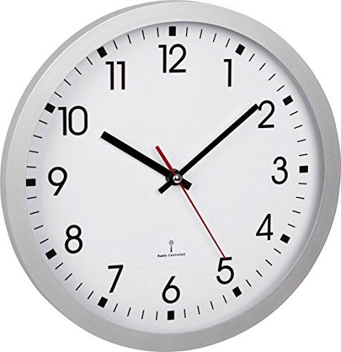 TFA Dostmann Analoge Funk-Wanduhr, 60.3522.02, mit Sekundenzeiger, Glasabdeckung, großes Ziffernblatt, 30cm Durchmesser, silber,L 300 x B 43 x H 300 mm