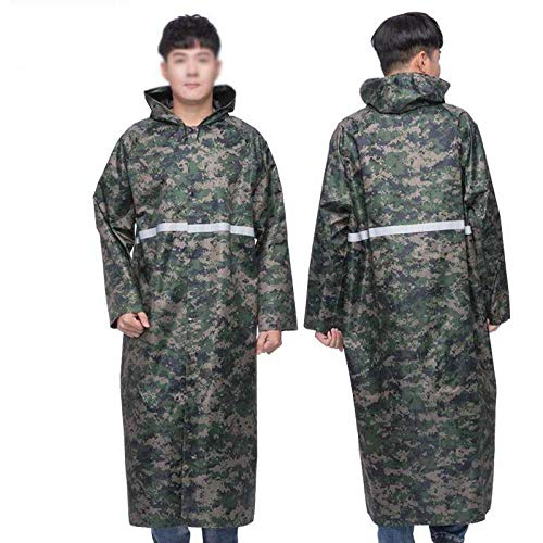 New Hiking Raincoat Long Section Full Body Female Riding Travel Single Piece Fashion Thickening, XL,Thick Camo Reflective Long Body