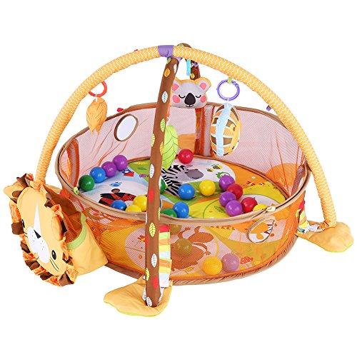 Baby-Spieldecke, Baby Spiel Spielen Aktivität Gymnastikmatte Krabbeln Teppich mit Schutzgitter Mesh Bunte Bälle Spielzeug