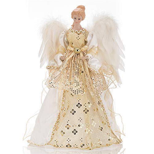 SANNO Christmas Angel Tree Topper, White Feather Wings Large Angel 15.7 in for Xmas/Holiday/Winter Wonderland Party Decoration Ornament,Gold and Ivory