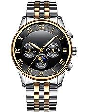 BesTn出品 腕時計 メンズ 機械式 自動式 ムーンフェイス 1ATM生活防水 日付 曜日 夜光 ステンレスバンド 「箱付き」