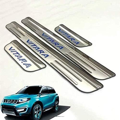 HUAQIEMI 4pcs Auto Edelstahl Einstiegsleisten, Door Sill Scuff Kick Plates Protector Dekoratives Türschweller Schutzstreifen Trittplatten, Styling Zubehör, für Suzuki Vitara 2015-2020