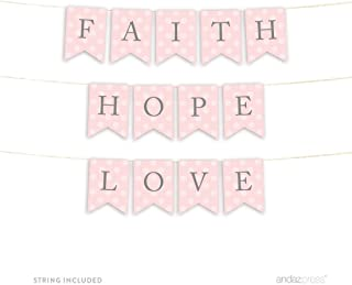 Andaz Press Blush Pink and Gray Baby Girl Baptism Collection, Hanging Pennant Party Banner with String, Faith, Hope, Love, 5-Feet, 1 Set, Christian Catholic Bible Biblical Church Decor Decorations