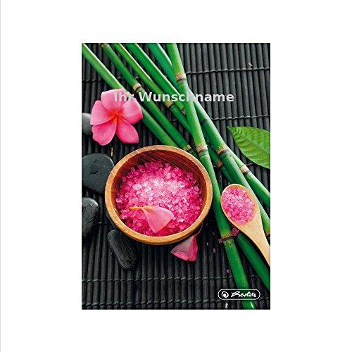 Herlitz Notitieboek, DIN A5, 96 vellen, geruit, zout en bamboe, met zilverkleurige gravure