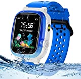 Themoemoe Kids GPS Watch, Kids Smartwatch with GPS Tracker Waterproof Phone Smartwatch 1.44 SOS Touch Screen Flashlight Camera Math Game (Blue)