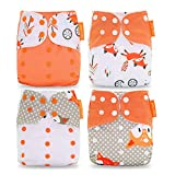 Yeelan Baby Cloth Diaper All-in-One Pocket Nappy Washable Reusable Diapers Insert for Toddler (Fox)