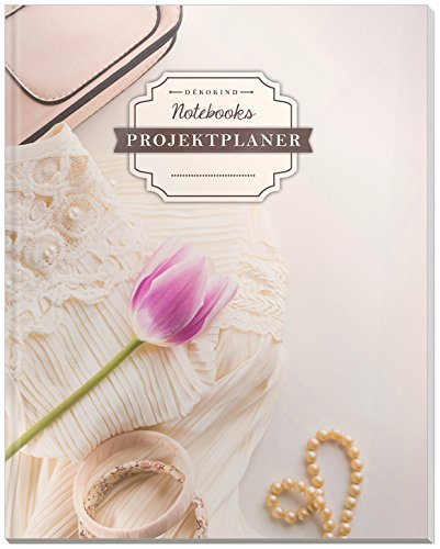 DÉKOKIND Projekt Planer | DIN A4, 100+ Seiten, Register, Kontakte, Vintage Softcover | Für über 50 Projekte geeignet| Motiv: Mädchen