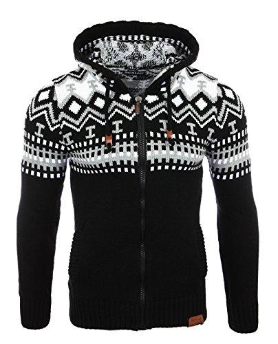 Reslad Jersey de punto para hombre noruego invierno de punto chaqueta sudadera con capucha RS-3104 negro-blanco M