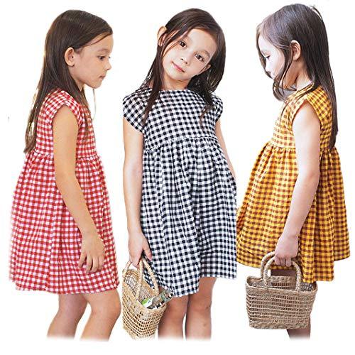 Sameno ropa de bebé Niñas Niñas Vestido de Algodón Manga Corta Casual Verano Rayas Impreso Camisa