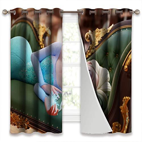 SSKJTC Cortinas opacas con aislamiento térmico para dormitorio, películas de animación, princesa, Elsa, tumbada en el sofá, para sala de estar, 106 x 160 cm