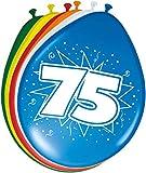 Folat - 75 Año Globos para Fiesta Decoración - Multicolor - 12In/30cm - 8 Piezas