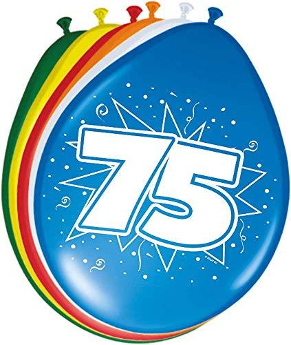 Folat 08275 75. Geburtstag Ballons 30 cm-8 Stück, Mehrfarbig