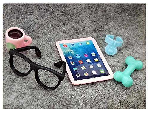 jwrac LPS Accessories Kit 5 PCS Glasses Coffee Tablet Collar Food Miniatures Simulation for Doll 1/6 1/12 LPS Shorthair Cat Dachshund Collie Great Dane Cocker Spaniel (Pink)