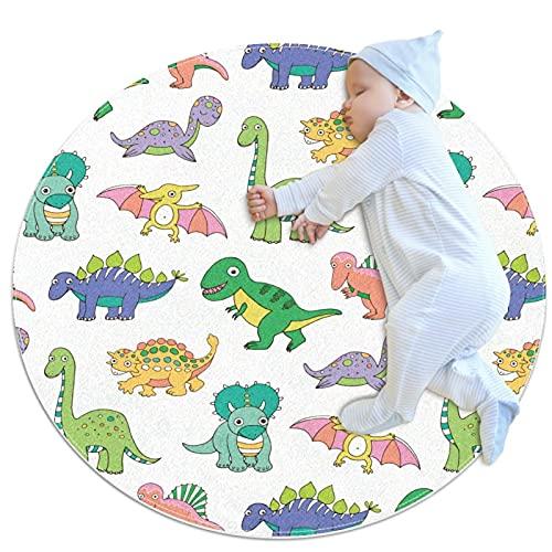 JHKHJ Alfombra de cocina lavable entrada alfombra escritorio alfombra baño acento alfombra blanco verde bebé dinosaurios 100x100cm