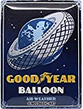 Nostalgic-Art Targa Vintage Goodyear – Balloon Tire – Idea Regalo per Amanti di Auto e Moto, in Metallo, Design Retro per Decorazione, 30 x 40 cm