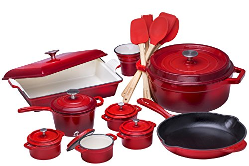 Bruntmor 21 Piece Enameled Cast Iron Cookware Set Fire Red