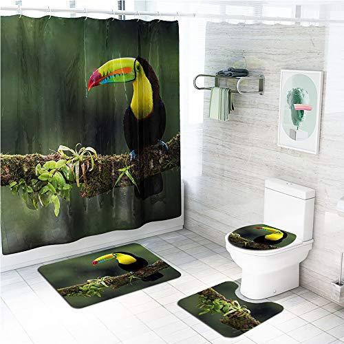 LAOSHIZI Loro impresión Alfombrillas de baño Suave Antideslizante alfombras de baño 4 Piezas Alfombra de Contorno en Forma de U y Cubierta del Asiento del Inodoro Cortina de la Ducha Impermeable