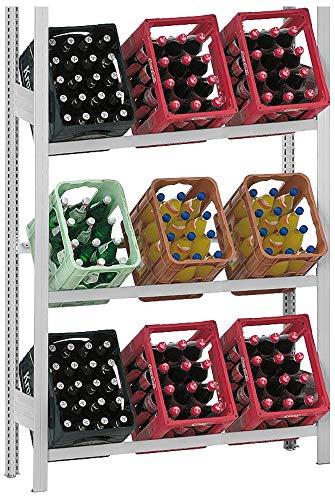 Getränkeregal mit 3 Ebenen für 9 Getränkekisten - Kastenständer: Feldlast 300 kg, Fachlast 100 kg