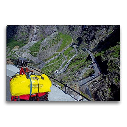 CALVENDO Premium Textil-Leinwand 75 x 50 cm Quer-Format Kein Preis ohne Schweiss - der Bergpaß Trollstigen in Norwegen, Leinwanddruck von Reinhard Pantke