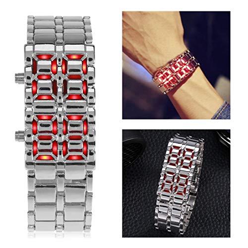 Reloj de pulsera de acero Reloj de pulsera de diseño creativo Reloj de pulsera con iluminación LED Reloj(Silver with red light)
