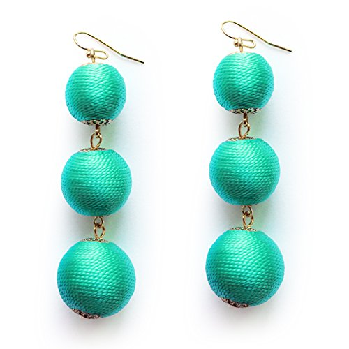 Me&Hz Turquoise Colored Drop Thread Ball Long Earrings for Women Girls 3 Balls Beaded Dangle Boho Earrings