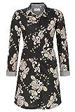 Ringella Bloomy Damen Nachthemd mit Durchgehender Knopfleiste schwarz 46 1551004,schwarz, 46