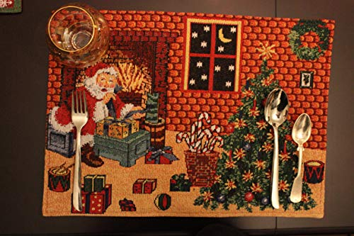 Tache Set of 4 Piece All I Want for Christmas Festive Orange Brown Xmas Tree and Santa Claus Placemat Set