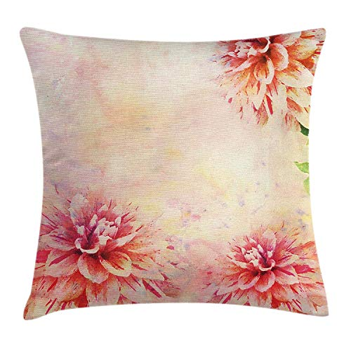Dahlia Flower Throw Pillow Cushion Cover, Stained Vintage Dahlia Roots Herbs Seed Aged Murky Design Art Print, Decorative Square Accent Pillow Case, 18 X 18 inches, Orange Pale Yellow