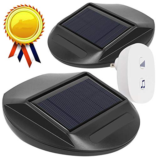 WJLING Upgraded Solar Motion Sensor Alarm, Solar LED Lights, Wireless Driveway Alarm, Outdoor Indoor Weatherproof Business Detect Alert with 2 Sensor and 1 Receiver,38 Chime Tunes - LED Indicators