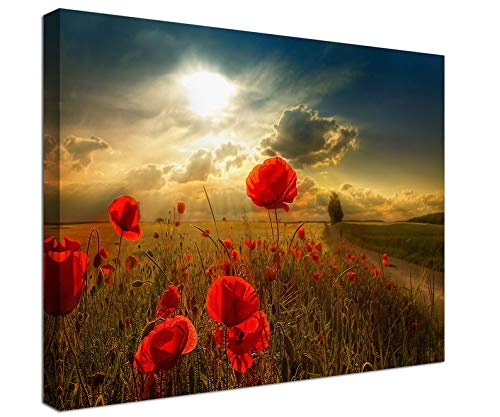 Unframe Canvas Printing 24x36 Inch Sunsets Poppy Fields Canvas Prints, Red Poppy field Home Decor, Poppy art, nature, flower, Poppy wall art canvas,wall decoration,Art print For Living Room/Bedroom