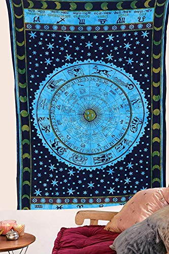 RSG Venture Turquoise Blue Zodiac Astrology Posters Wall Hanging Horoscope Tapestry Dorm Tapestries Hippie Tapestry Indian Astrology Trippy Celtic Psychedelic Tapestry Wall Hanging Rashi Tapestry