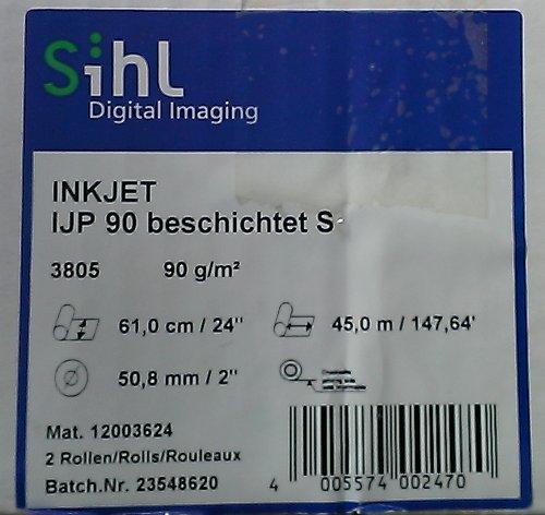 Inkjet-Papier Sihl 3805, 90 g/qm, 45m lang, 61,0cm breit, PG=2ST