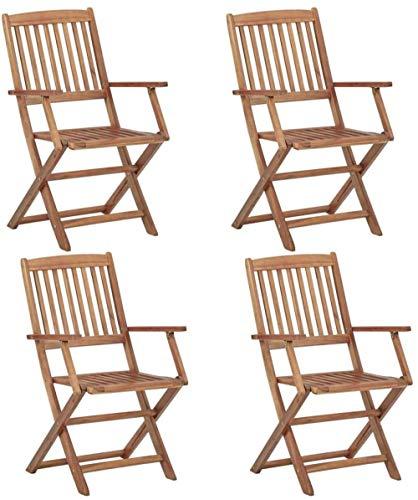'N/A' 4X Sillas de Exterior de Madera Maciza de Acacia Plegable Muebles de jardín Picnic para Acampar Patio Trasero Plegable portátil Cena Cena Asiento de Barbacoa