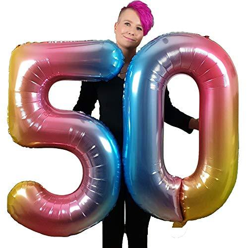 DIWULI, gigantische XXL-nummerballonnen, nummer 50, iriserende regenboogballonnen, aantal ballonnen, folieballonnen nummer geen jaar, folieballonnen voor 50e verjaardag, feestversiering