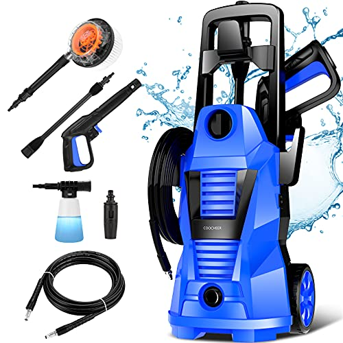 Hidrolimpiadora eléctrica, hidrolimpiadora COOCHEER Presión máxima: 125Bar 1400W, limpiador de superficies para automóviles, hogares,