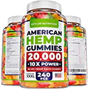 Keylor Nutrition Hemp Oil Gummies - 20,000 MG - Made in USA - Relief for Stress, Inflammation, Sleep, Anxiety, Depression - All-Natural Ingredients - Hemp Gummies with Omega 3-6-9 - CO2 Extraction