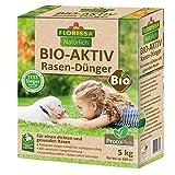Florissa Natürlich 58656 Bio-AKTIV Rasendünger mit ProtoPlus, TEST-SIEGER mit Sofort- und Langzeitwirkung, Braun, 5 kg