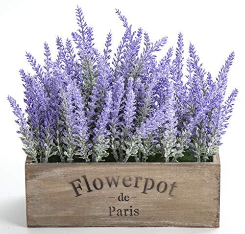 LODESTAR Artificial Lavender Flowers in Wooden Box Fake Floral Bouquet Home Office Indoor Outdoor Decoration - Purple